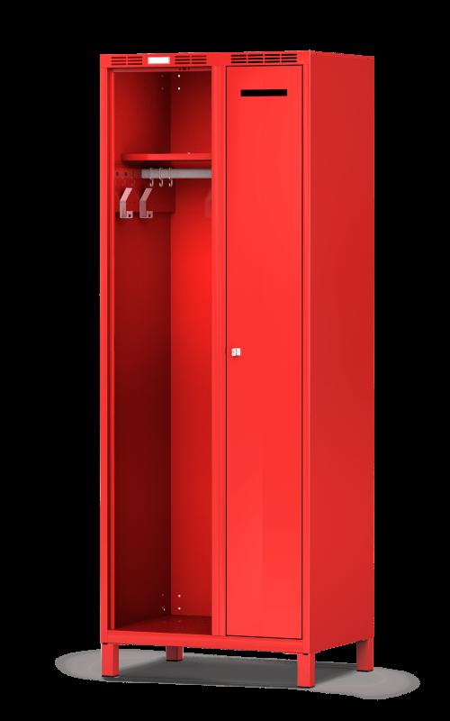 Der Feuerwehrschrank DEVIS von rotstahl® ist für eine Schwarz Weiß Trennung ideal. Der Einsatzschrank besitzt ein abschließbares Privatfach und eine offene Lagermöglichkeit für die Schutzbekleidung. rotstahl® bietet den Einsatzspind in verschiedenen Maßen und RAL-Farben an. Jetzt unverbindlich Angebot anfordern und auf Rechnung kaufen.