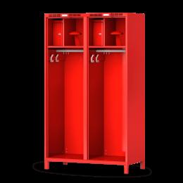 Feuerwehrschrank PROFI, geräumige Feuerwehrschränke von rotstahl®. Mit Helmhalter und extra breiten Abteilen.