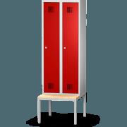rotstahl® Spind mit untergebauter Sitzbank