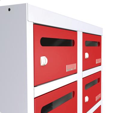 Postfächer im Postfachschrank von rotstahl® mit Einwurfschlitz für Briefe