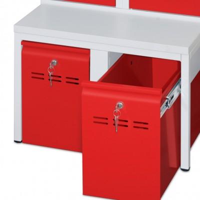 Abschließbarer Schubladen-Auszug mit Sitzbank für Spinde