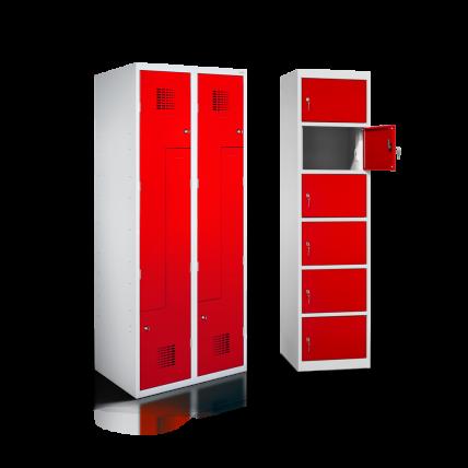 Z-Spind und Ladeschrank in Lichtgrau mit verkehrsroten Türen | rotstahl