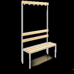 Sitzbank 100cm mit Lehne und Garderobe