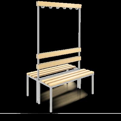 Sitzbank 100cm mit Doppel-Lehne und Garderobe