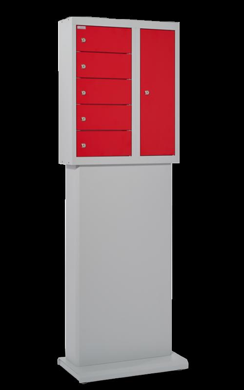 ladestation-5er-lichtgrau-feuerrot_mit_Standfuß