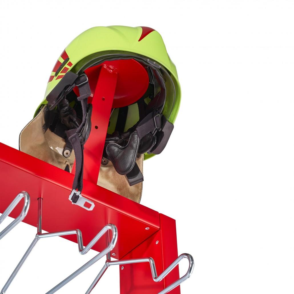 Mobile Feuerwehrgarderobe VELO mit Helmhaltern und Edelstahlbügeln | rotstahl®