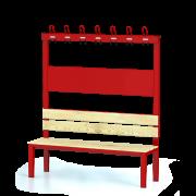 Sitzbank 150cm mit Lehne Feuerrot | rotstahl
